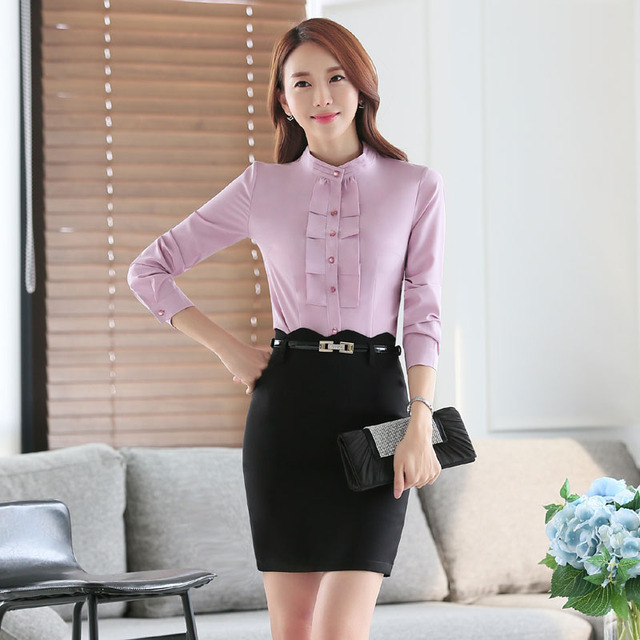 New Arrival Elegant Pink Professional Formal Work Suits With 2 Piece Tops And Skirt Ladies Office Outfits Set Female Skirt Suits