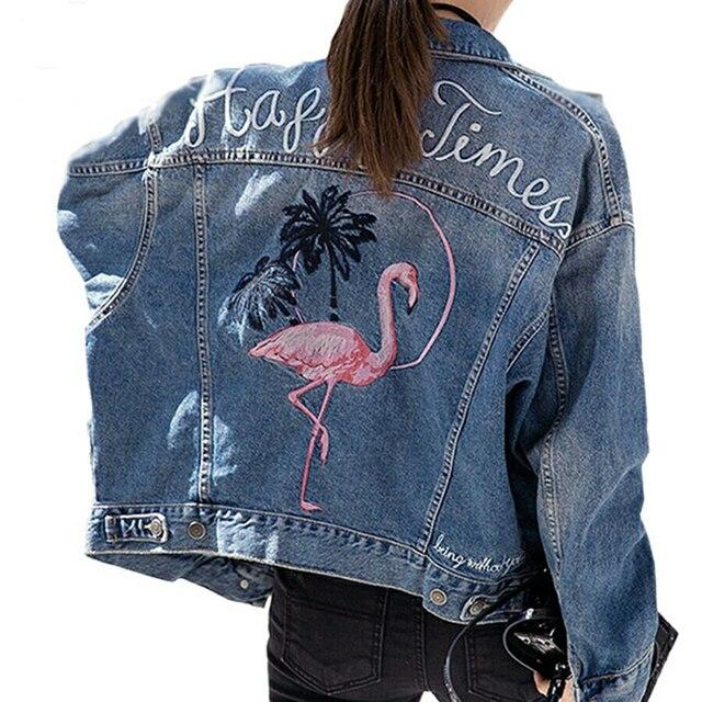 2018 Flamingo Embroidery Denim Jacket coat Women Long Sleeve bird Jeans  Jackets Vintage Loose Outerwear Basic