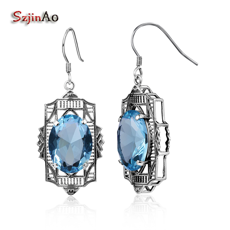 Szjinao New Real 925 Sterling Silver Earrings for Women Fashion Vintage Aquamarine Earings Fashion Jewelry Gift