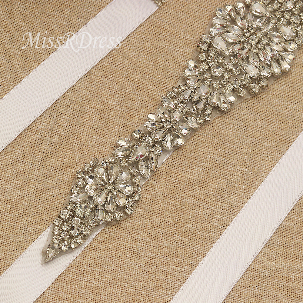 Bridal Dress Belt MissRDress Long Wedding Sash Rhinestones Ribbons - Үйлену керек-жарақтары - фото 4
