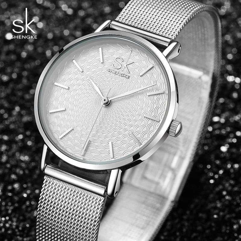 Shengke Silver Watches Women Luxury Stainless Steel Ladies Watches Reloj Mujer 2019 SK Fashion Quartz Watch For Women #K0006