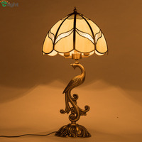 European Lustre Copper Peacock Led Table Lamp Glass Shades Bedroom Led Table Light Living Room Table Lights Desk Light Fixtures