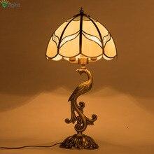 Retro Copper Peacock E27 Led Table Lamp Lustre Brass Glass Bedroom Led Table Light Creative Led Table Lighting Lights Fixtures
