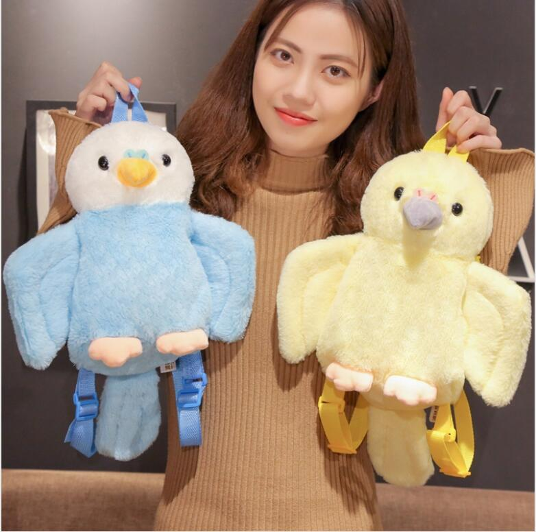 1pc 40cm Cartoon Sweet Parrot Bird Plush Backpack Travel Decoration Phone Bag Stuffed Toy Girl Lady Gift