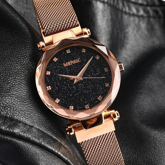 Luxury Quartz Purple Fashion Starry Sky Watch Women Mesh Magnet Band Crystal Girl Ladies Blue Black Rose Gold Waterproof 2019