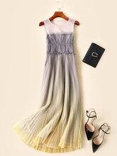 Europe and America women mesh pleated dress 2019 summer runways brand new sleeveless maxi dress Chic elegant party dress A430