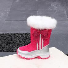 Из микрофибры-брезент с бантом для девочек сапоги 2018 Зима Новый Детские Водонепроницаемые зимние сапоги для мальчиков и девочек плюс толстый бархат женские ботинки