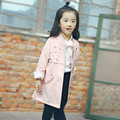 New 2017 Spring Autumn Girls Coats Fashion Korean Woolen Long Outerwear Solid Long Sleeves Mandarin Collar Children Clothing Hot