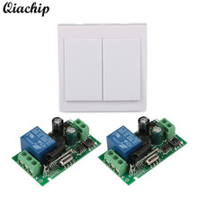 2 CH 433 MHz Wall Panel Switch Transmitter RF TX Relay Wireless Learning Code Receiver Module 433MHz Wall Remote Control Switch