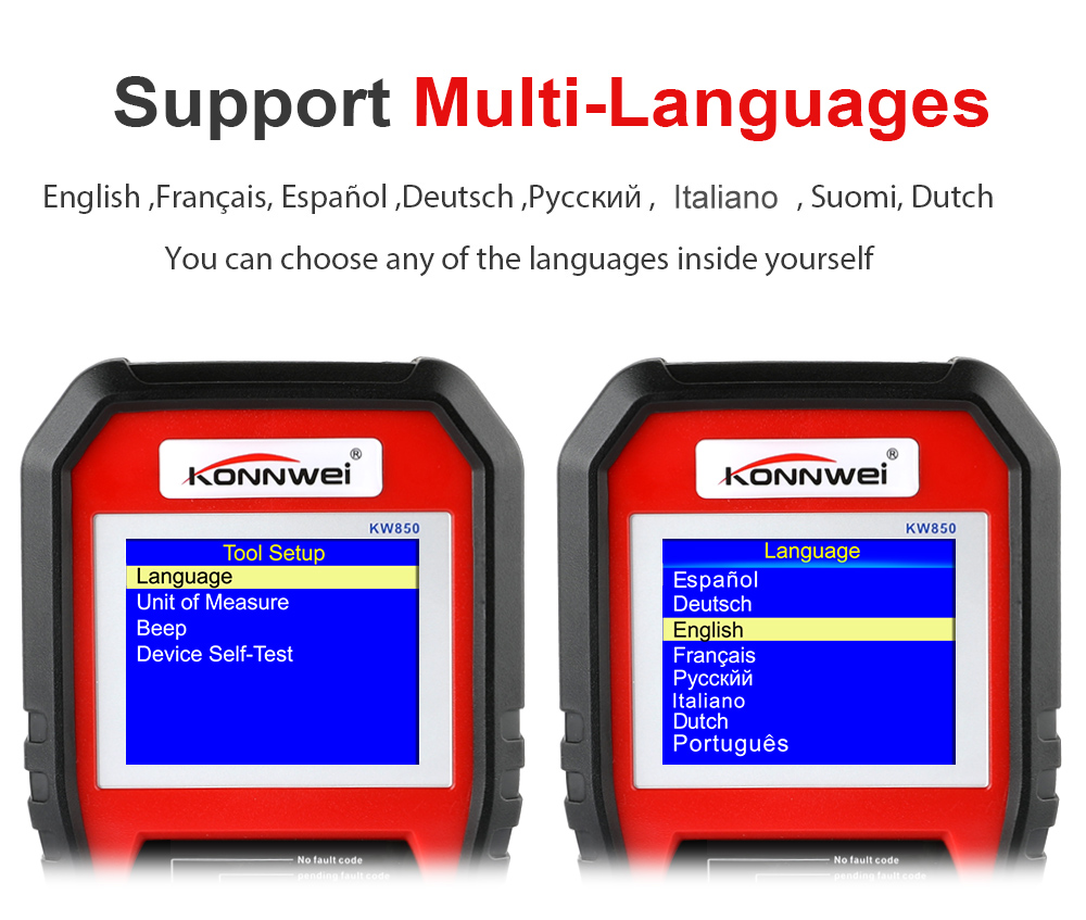 Image 3 - 2019 Best OBD 2 Auto scanner OBD2 Scanner KONNWEI KW850 Full ODB2 Scanner Supports Multi languages ODB 2 Auto Diagnostic Scanner-in Code Readers & Scan Tools from Automobiles & Motorcycles