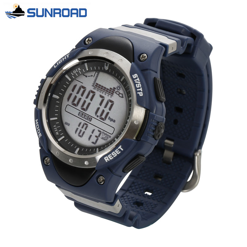 SUNROAD Waterproof Digital Fishing Watch All In One Multifunction 3ATM Barometer Altimeter Thermometer Record Watch Reloj Hombre hee grand summer gladiator sandals 2017 new beach platform shoes woman slip on flats creepers casual women shoes xwz3346
