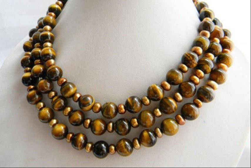 50 Inches Long 10mm Round Tiger'-eye Coffee Slice Freshwater Pearl Necklace AAA