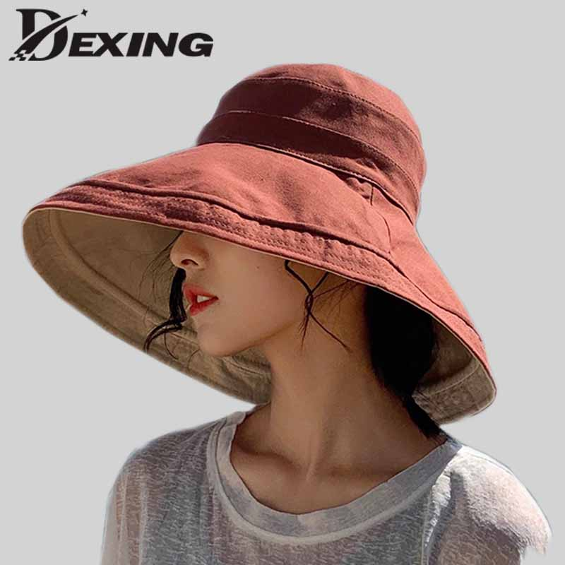 Reversible Foldable Cotton Sun Hat For Women Summer Wide Brim UV Protection Panama Beach Hat Ladies Girls Outdoor Korean Sea Hat