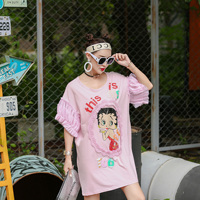 European goods 2018 Xia Chao brand sequins Betty girls in the long section are code loose pregnant women T shirt dress students
