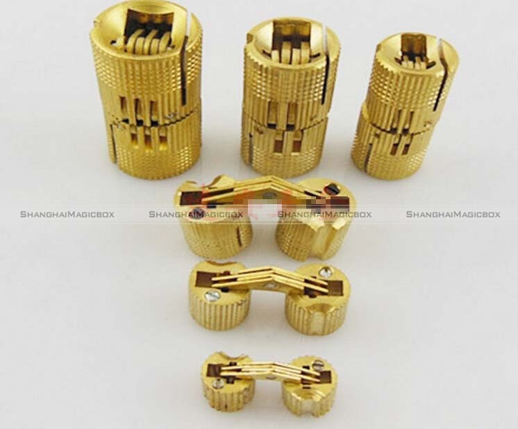 Shanghaimagicbox 4pcs 12mm Brass Barrel Hinge Cylindrical Hidden Cabinet  Hinges Concealed Invisible Mortise Mount Hinge