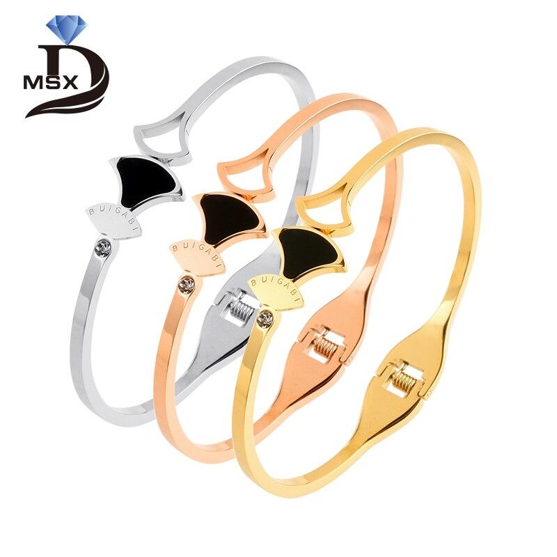MSX розовое золото покрытие браслеты Браслеты для женщины 316L Нержавеющаясталь браслет для Свадебная вечеринка Роскошные ювелирные изделия...