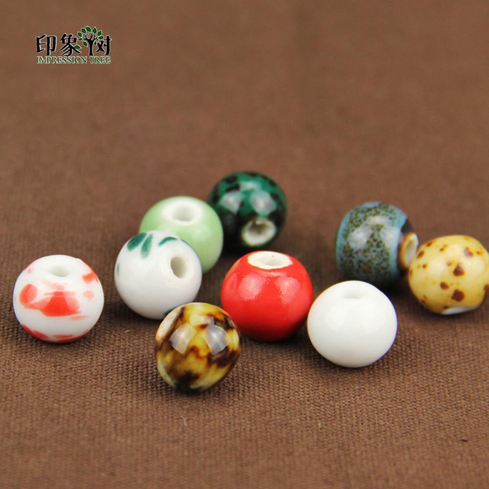 10 Teile/los 12mm Bunte Runde Chinesischen Stil Schmuck Keramik Perlen Für Handgemachte Diy Schmuck Machen Liefert Wholsale 67