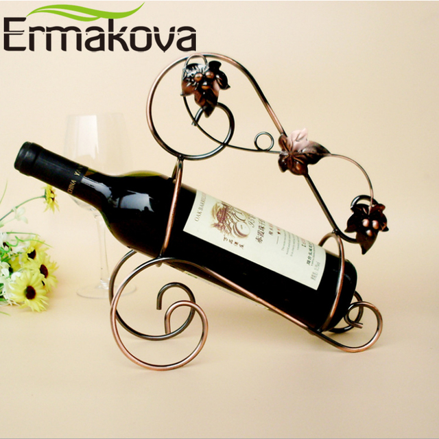 ERMAKOVA European Vintage Portable Wine Holder Bronzed Metal Antique Wine  Rack Wine Stand Home Wine Cabinet - ERMAKOVA European Vintage Portable Wine Holder Bronzed Metal Antique
