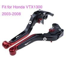 KODASKIN Left and Right Folding Extendable Brake Clutch Levers for Honda VTX1300 2003-2008 free shipping 2x skull chrome zombie brake clutch levers for honda vt600 vt750 vf750 cb750sc vt1100 vtx1300