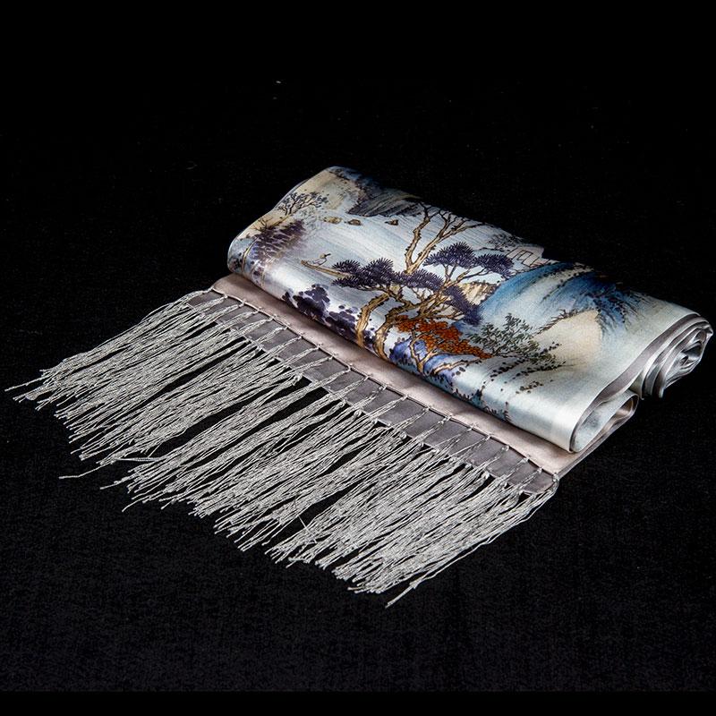 100% foulard en soie hommes écharpe rivières et montagnes longue soie châle 2019 Designer écharpe Top impression mâle châle chaud luxe cadeau pour hommes