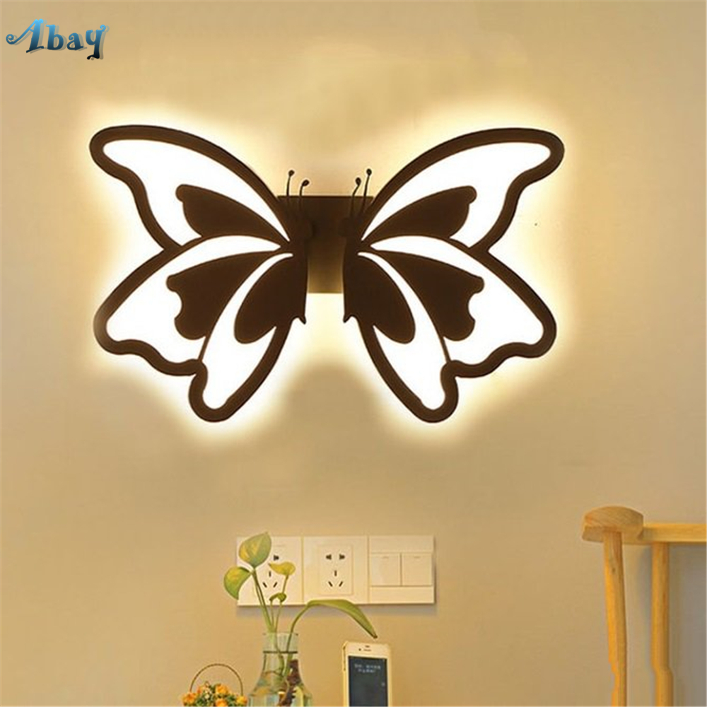 Art Deco Butterfly LED wall lamp acrylic for kids Bedroom corridor modern Living Room Decoration children Wall Light Fixtures|LED Indoor Wall Lamps| |  -