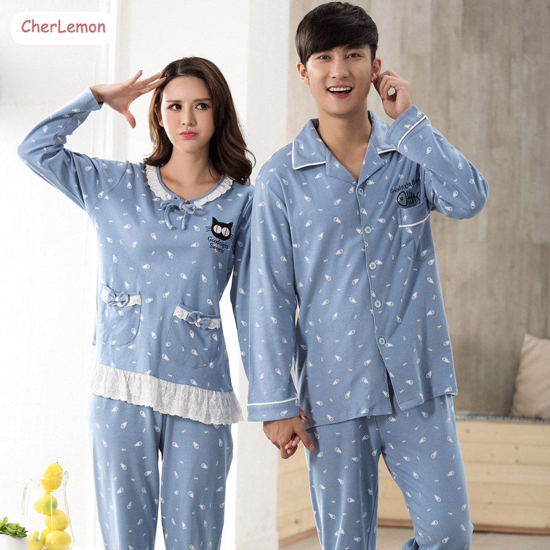 CherLemon Spring Couples Cotton Pajamas Long Sleeve Turn down Collar Soft Sleep Lounge Set Women & Male Printed Sleepwear