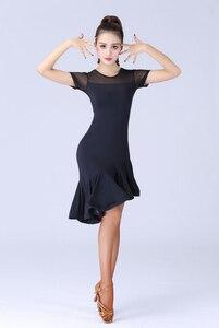 Image 3 - Женский костюм для латиноамериканских танцев, черное кружевное платье с короткими рукавами для сальсы и самбы, 2019
