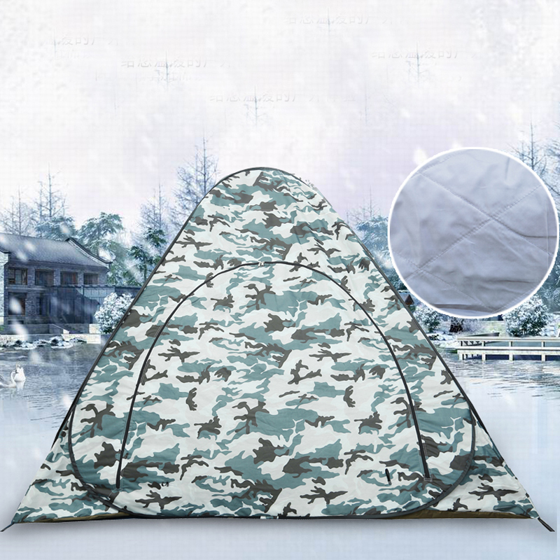 Heighten 1.6 meters Thick Ice fishing tent! Professional thick cotton warm winter steel automatic pop up fishing tent