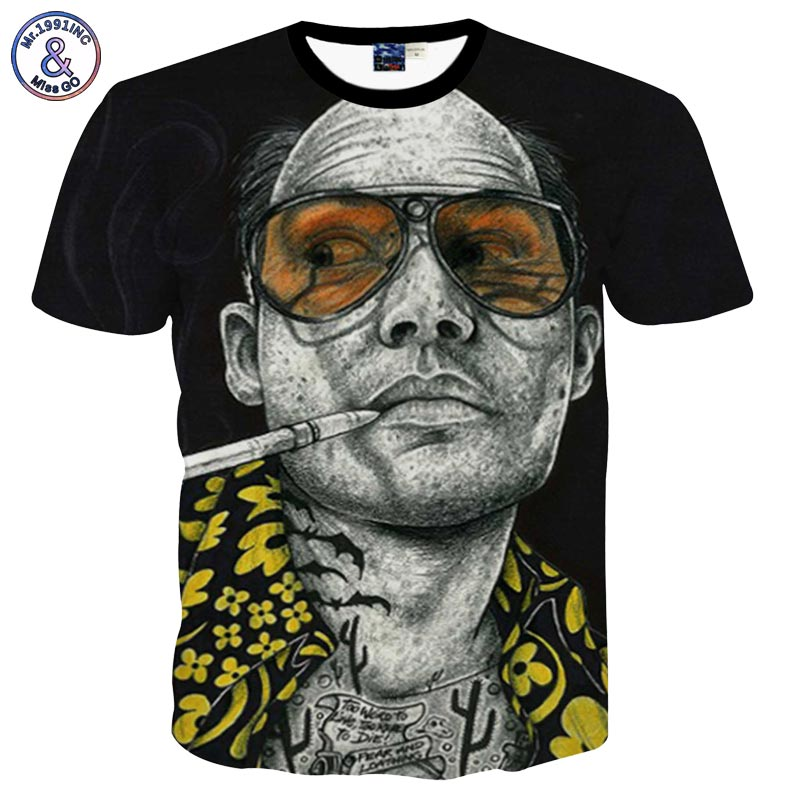 Mr.1991INC New Arrivals Tshirt Men/women Summer Tops Tees Print Glasses Smoking Star 3d  ...