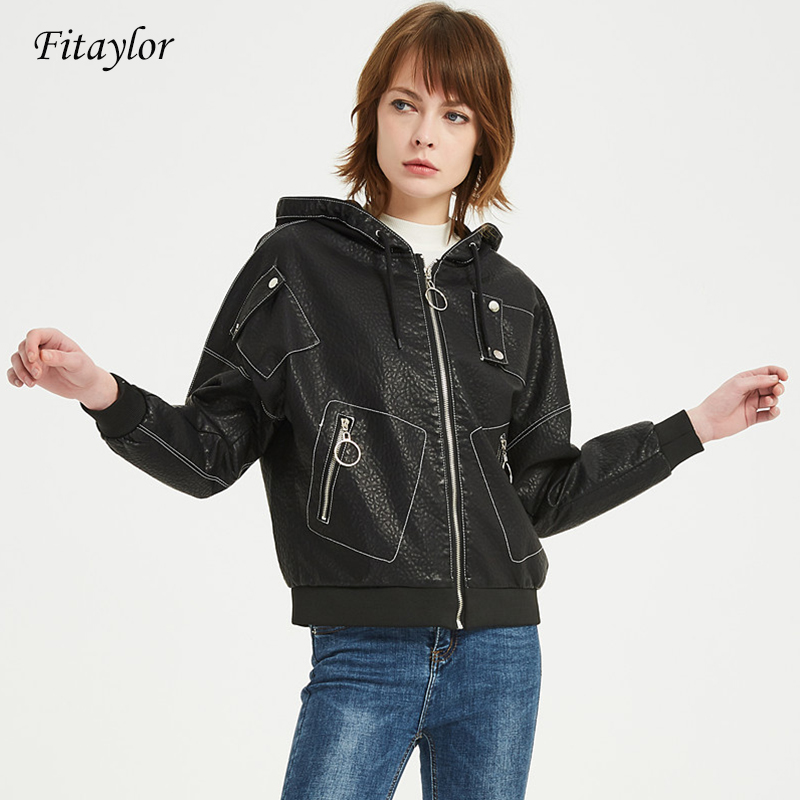 Fitaylor Hooded Balck Faux   Leather   Jacket Women Spring Autumn Zipper Pu   Leather   Biker Motorcycle Jacket Female Punk Style Coat