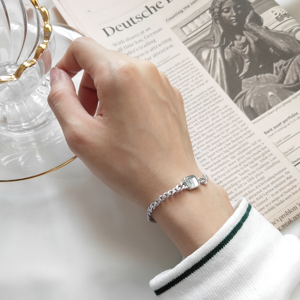 925 Sterling Silver Wide Curb Caban Chain Faceted Rectangular Emerald Green Crystal Bracelet For Female Party Fashion Jewelry