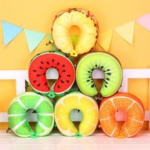 1pcs 6 Colors Fruit U Shaped Pillow Protect the Neck Travel Watermelon Lemon Kiwi Orange Pillows Cushion X