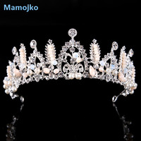 Mamojko Luxurious Crystal Crown For Women Wedding Fashion Jewelry Charms Imitation Pearl Tiara For Bride Hair