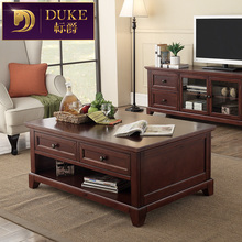 American country wood living room coffee table retro classic Chinese family several storage teasideend