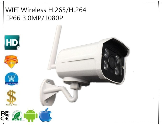 WIFI Wireless H 265 H 264 3 0MP 1080P Sony IMX323 2048 1536 IP Outdoor Bullet