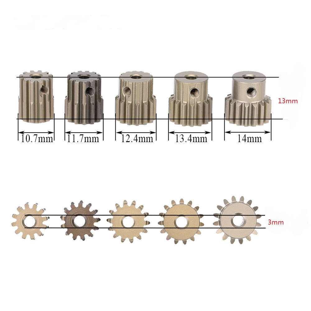Metal de Alta Qualidade 32DP 3.175 milímetros 12 T 13 T 14 T 15 T 16 T Engrenagem Do Motor Pinhão Conjunto para 1/10 RC Carro Brushless Escovado Do Motor Parte