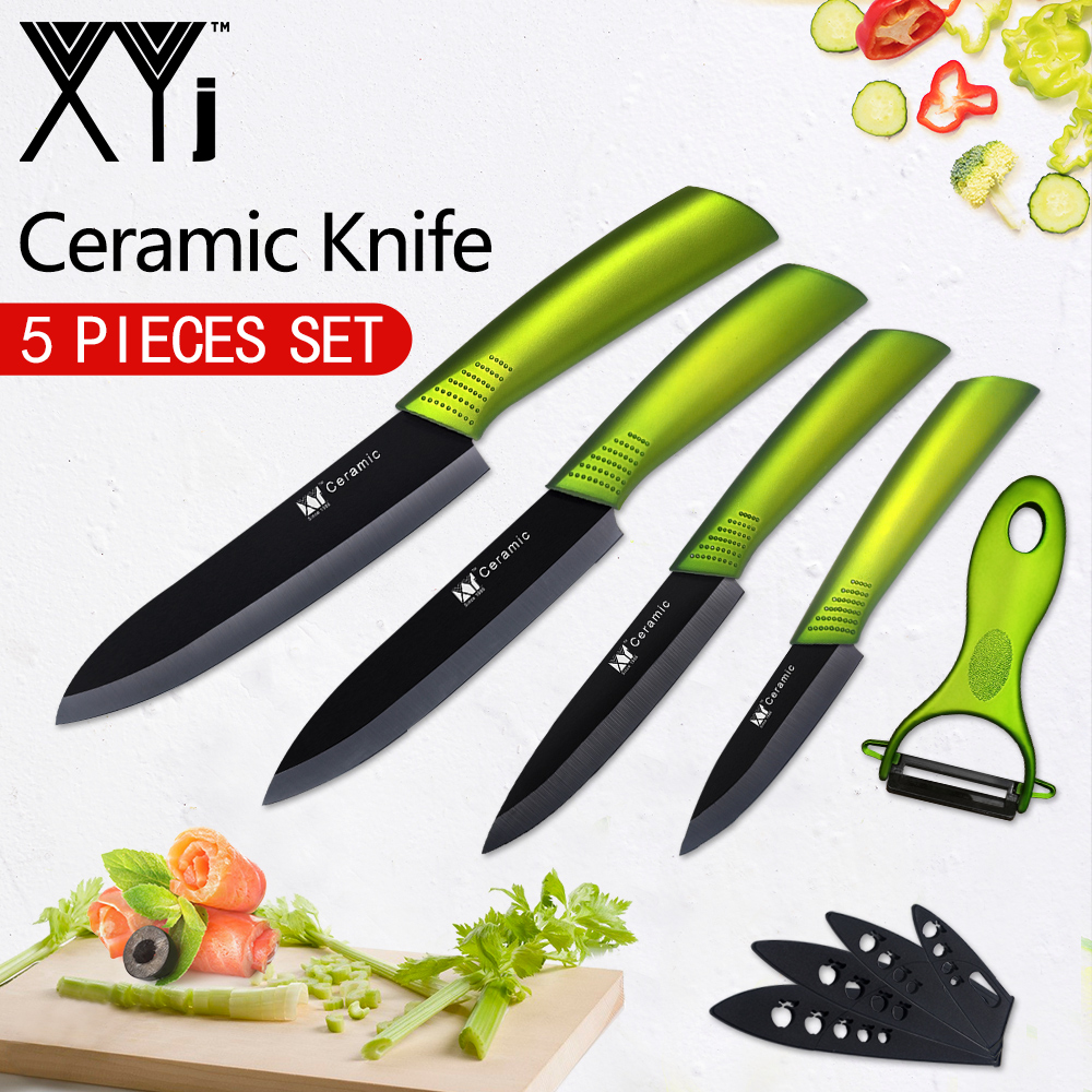 XYj Black Blade Kitchen Knives Chef Ceramic Knife Set 3 4 5 6 inch Fruit Veg Meat Sushi  ...
