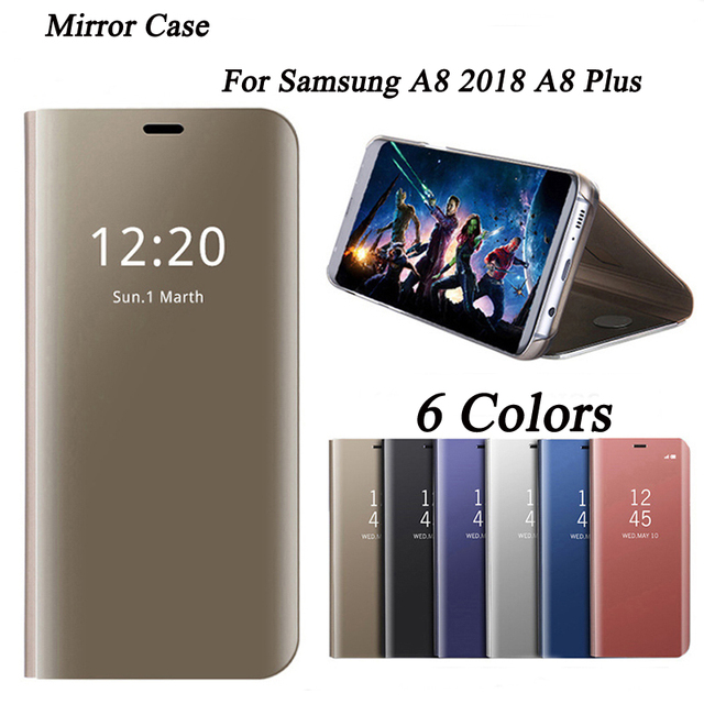 best authentic 87116 04bab Mirror Case For Samsung Galaxy A8 2018 Case A8plus Smart View Flip ...