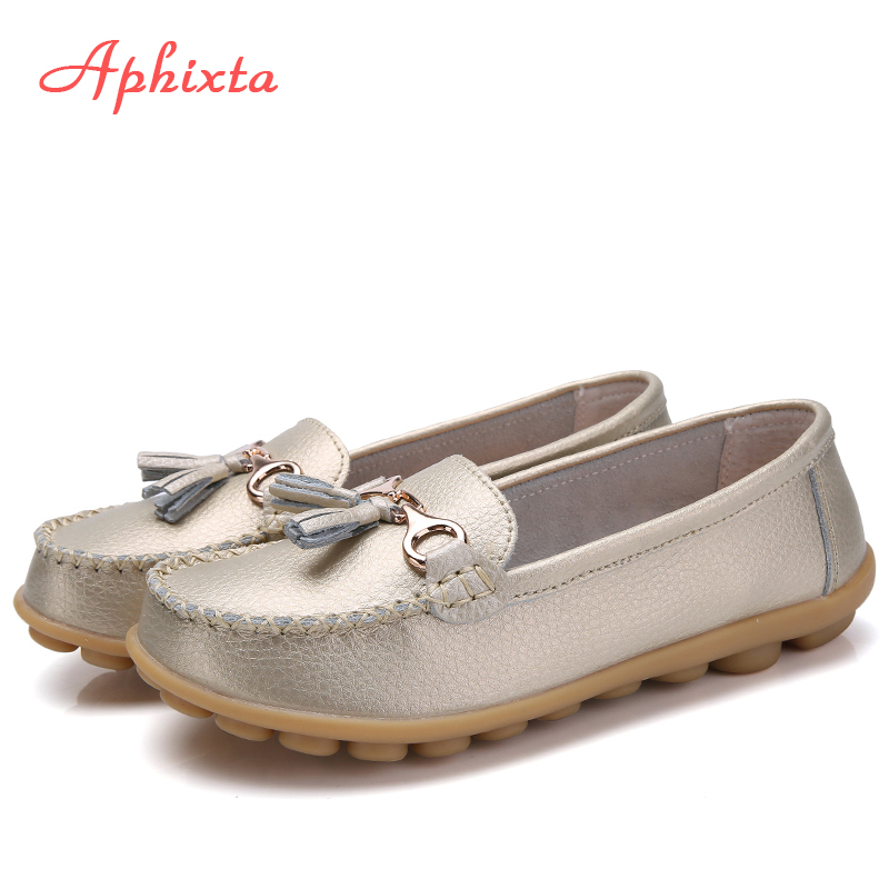 Aphixta Loafers Genuine Leather Shoes Woman Flats Moccasins For Women Breath Ladies Mother Real Leather Footwear Large Size 44Aphixta Loafers Genuine Leather Shoes Woman Flats Moccasins For Women Breath Ladies Mother Real Leather Footwear Large Size 44