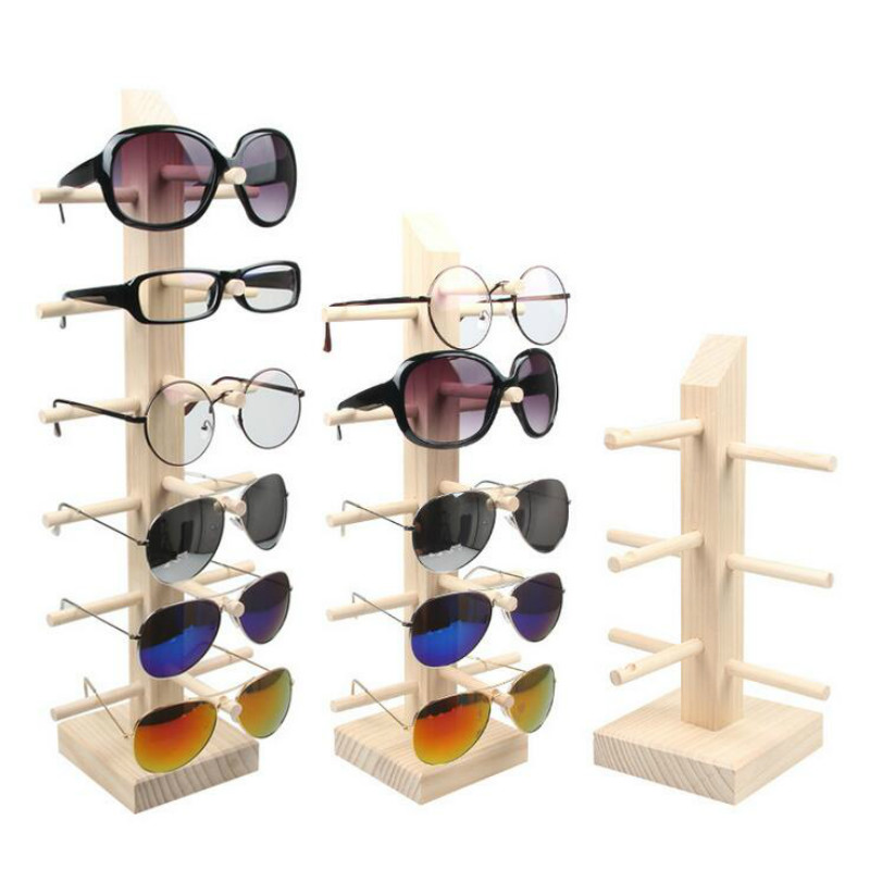 New Sun Glasses Eyeglasses Wood Display Stands Shelf Glasses Display Show Stand Holder Rack 9 Sizes Options Natural Material