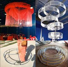 New style wedding props transparent ceiling ring sunshine board circular wreath line curtain decoration
