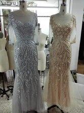 Real PhotoLuxury Grey Mermaid Evening Dresses Sweep Train Long Sleeves Beading Crystal Sparkly Gown Robe De Soiree 2018