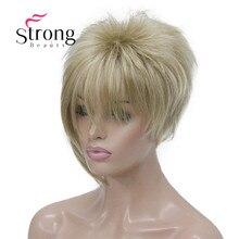 StrongBeauty Asymmetrische Side Bangs Blond Korte Rechte Synthetisch Haar Pruik KLEUR KEUZES