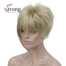 StrongBeauty asymetryczna boczna grzywka blond krótkie proste włosy syntetyczne peruki wybór kolorów