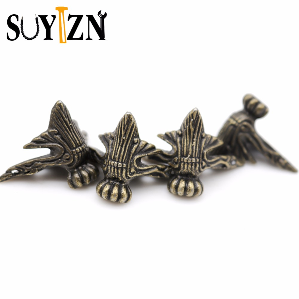 4Set Metal Corner Protector Antique Bronze Jewelry Gift Box Wood Case Decorative Feet Leg  Vintage Home Decor ZK132 corner protector bronze tone antique brass jewelry gift box wood case decorative feet leg 4 1x2 3cm 1pc