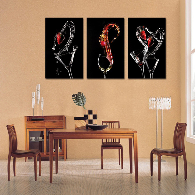 dining room canvas art. 3 Piece Canvas Wall Art Wine Glasses Paintings Abstract Red Painting For Dining Room