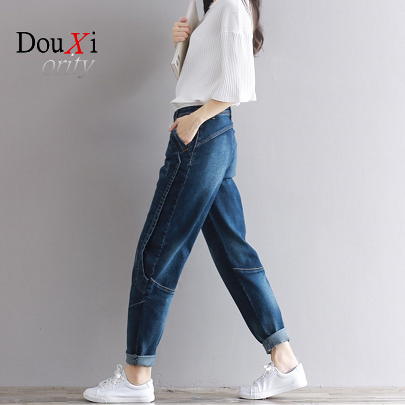 2017 Woman Jeans Plus Size Fashion Elastic Blue Women Mid Waist Casual Harem Jeans Female Cotton Harem Pants Loose Trousers