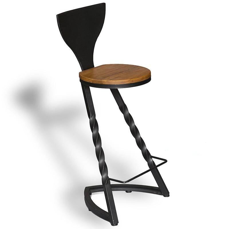 Wrought Iron Solid Wood Home Bar Stool Table Modern Minimalist Bar Chair Bar Tables And Chairs Creative High Feet Bar Chair