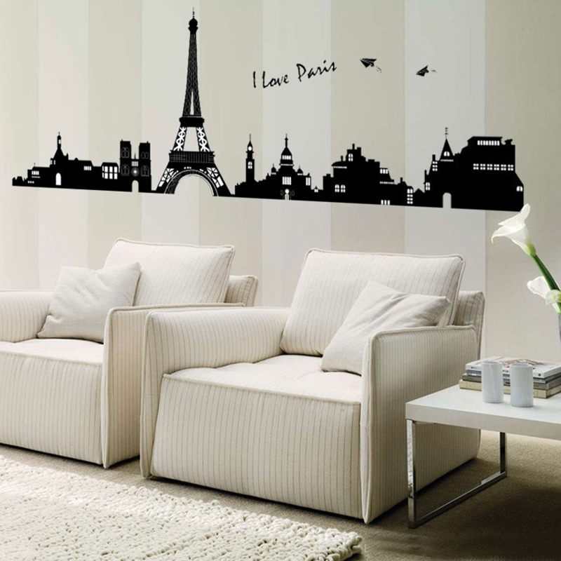 Romantic Paris City Silhouette Pvc Wall Decals Eiffel Tower Wall