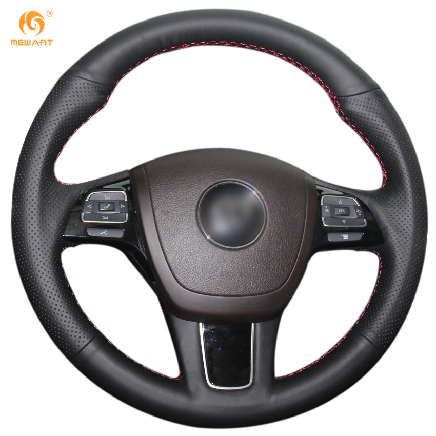 MEWANT Black Genuine Leather Car Steering Wheel Cover for Volkswagen VW Touareg 2011-2017 car data cable for volkswagen rcd510 rcd310 rns510 black